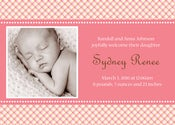 Image of Pinkish Plaid Birth Announcements