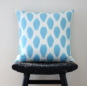Image of Cyan Dot Uzbek Ikat, Silk and Cotton Cushion Cover, Pillow, 45 x 45 cm, 18 inch