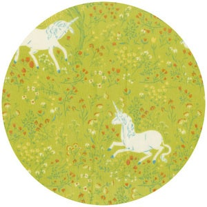Image of Far, Far Away fabric~ unicorns on green