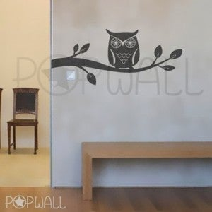 Image of Wall Decal Giggle and Hoot Style -Owl on Branch Theme - 047 Vinyl Wall Decal Sticker