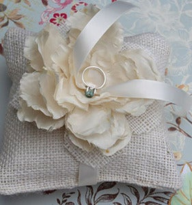 Image of Rustic Chic Burlap Ring Pillow with Silk Peony Flower