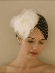 Image of Eva - Silk Organza Couture Flower Fascinator and Ivory Birdcage Veil