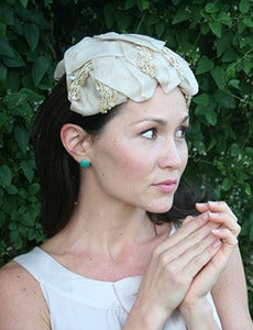 Image of Claire - Late 1950's Vintage Bridal Hat in Champagne