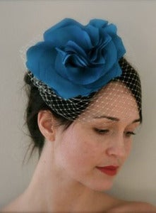 Image of Bella - Handemade Silk Flower paired with our Simple Birdcage Veil