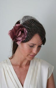 Image of Leland - Handmade Silk Flower paired with Bridal Birdcage Veil