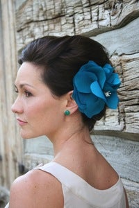 Image of Bella II - Handmade Silk Flower in Turquoise