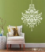 Image of Vinyl Wall Decal Chandelier with Birds -041