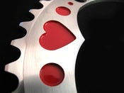Image of Red heart - Silver chainring