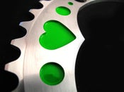 Image of Green hearts - Silver chainring