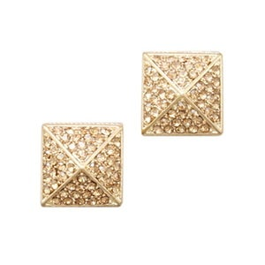 Image of Pave Stud Earrings-Gold