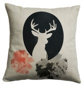 Image of Handmade cushion on natural linen  deer cameo