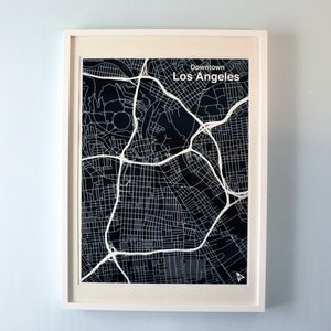 Image of Black Silk-Screen Printed Map of LA