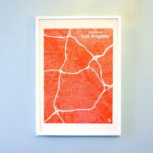Image of Red Silk-Screen Printed Map of LA