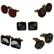 Image of Cufflinks made with recycled vinyl records.