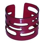 Image of Tubes Bracelets cut out of recycled BLACK and RED vinyl records.