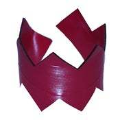 Image of Zigzag Bracelets cut out of recycled BLACK and RED vinyl.