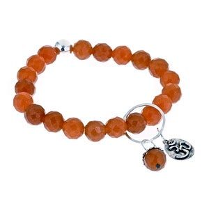 Image of Peach Jade Om Charmed Bead Bracelet