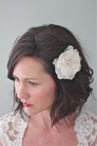 Image of Ettie - Petite silk flower with alencon lace and pearl center