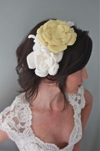 Image of Flora - Double Silk Flower and Alencon Lace Headband