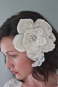 Image of Monique - Handmade silk flower headpiece with one of a kind vintage brooch center