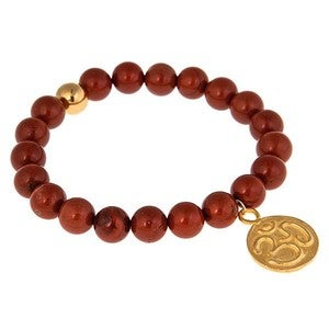 Image of Lotus & Om Red Jasper Bead Bracelet