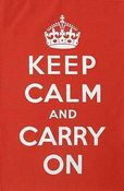 Image of Keep Calm and Carry On Tea Towel - Red