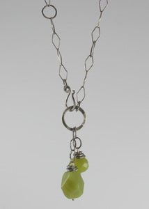 Image of Olive Jade Double Bead Drop Neckalce