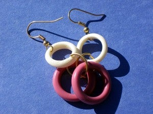 Image of White and Pink Earrings