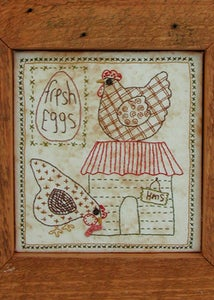 Image of Hens Live Here framed stitchery pattern