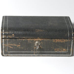 Image of Vintage Antique Jewellery box with key -SOLD