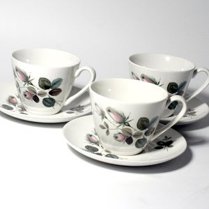 Image of A set of 9 Vintage johnson Bros teacups & saucers  'rose bud' design