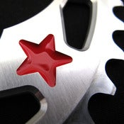 Image of Red stars - Silver chainring