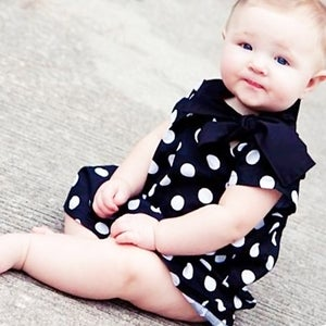 Image of BLACK POLKA BOW DRESS