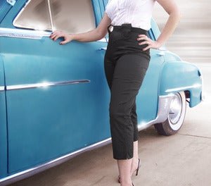 Miss Hussy  High Waisted Capris - Black/Red :  high waist retro tabs rockabilly