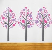 Image of Vinyl Wall Sticker Decal Art Girls Nursery - Three Flower Tree