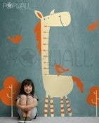Image of Kids Fun Grow Chart - Tall Horse with Birds Vinyl Wall Decal Sticker Art - 012