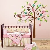 Image of Swirly Tree with Owls (LARGE) - dd1034 Vinyl Wall Sticker Decal Baby Nursery