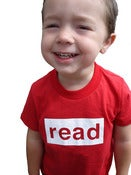 Image of read youth tee, red/white