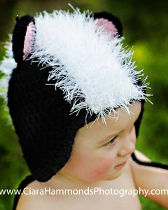 Image of Earflap Skunk hat crochet pattern