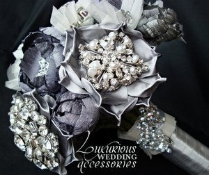 Image of MoonGlow Silver Brooch Wedding Bouquet