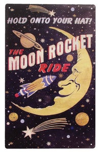 Image of The Moon Rocket Ride Tin Sign