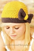 Image of The Flapper Bow Beanie Ladies Hat Crochet Pattern
