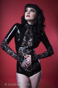 Image of Lace &amp; latex long sleeve belted leotard