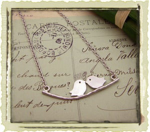 Vintage &quot;Love Birds&quot; in Silver