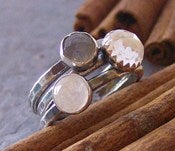 Image of clouded moonlight .... sterling gem stone stacking rings