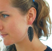 Image of Native solitary - Recycled Bike Tube Earrings