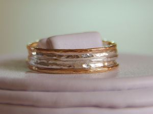 Image of Set of 5- 14k gold filled and sterling silver stack/stacking/stackable/band rings sizes- 4,5,6,7,8,9