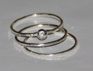Image of Handmade hammered pebble sterling silver stacking / stackable rings - size 4,5, 6,7,8,9,10,11, half