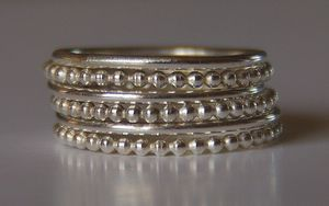 Image of Set of 6 Stacking Silver Bead (beaded) Rings sizes 4,5,6,7,8,9,10,11