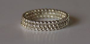 Image of TRIO - Beaded / Dotted Sterling Silver Stacking / Stack / Stackable Rings (eternity bands) sizes 4,5